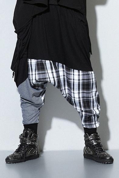 Guys Cool Hip Hop Fashion Unique Plaid Patchwork Cotton Black Baggy Pants Harem Pants