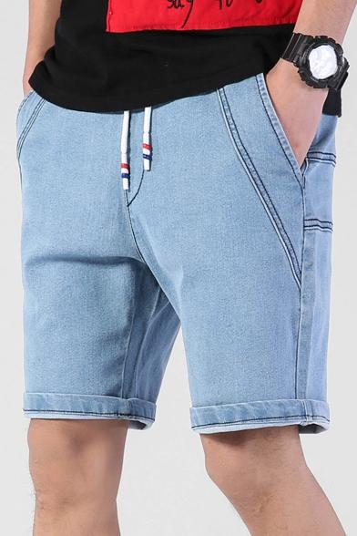 Guys Summer New Trendy Drawstring Waist Casual Loose Plain Denim Shorts