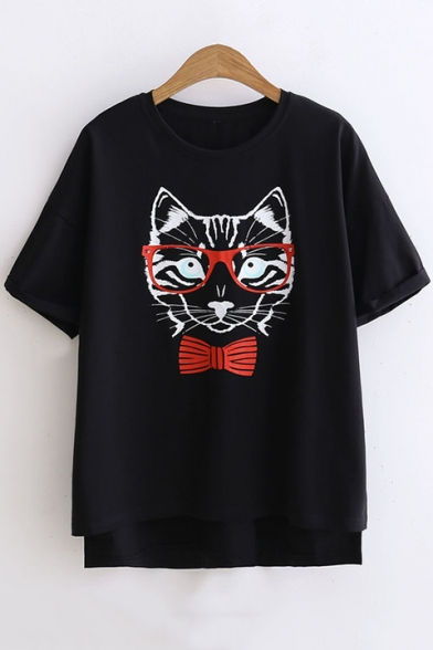 Lovely Cartoon Bow-Tied Cat with Glasses Cotton Loose Fit T-Shirt