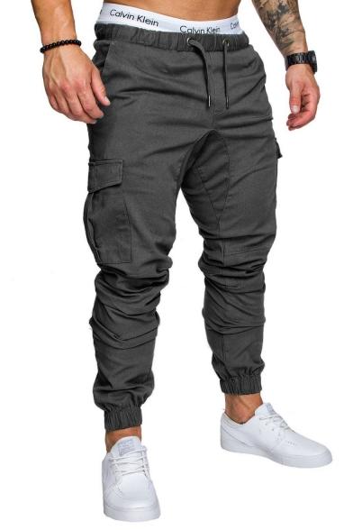 Mens Basic Simple Plain Drawstring Waist Flap Pocket Side Skinny Pencil Pants Cargo Pants