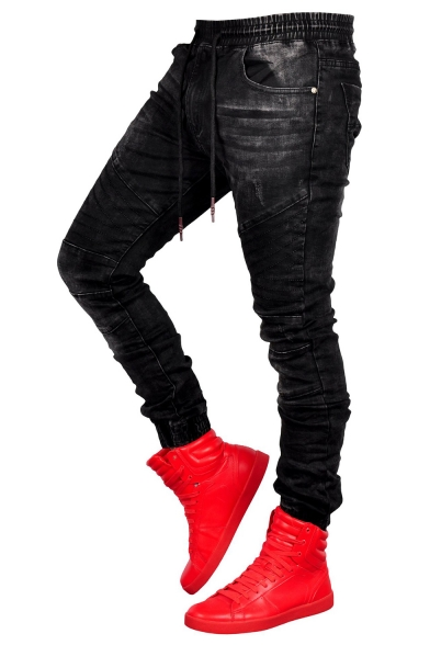 Mens New Fashion Drawstring Waist Elastic-Cuff Skinny Fit Black Joggers Jeans