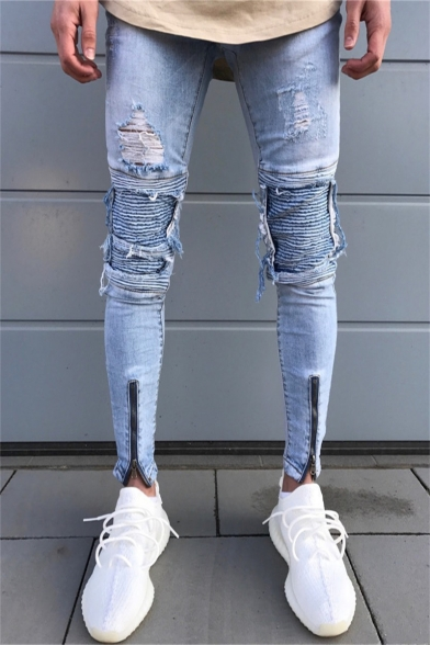 d2778322955 Mens Street Fashion Zip Cuff Pleated Knee Patched Light Blue Ripped Skinny  Jeans ...
