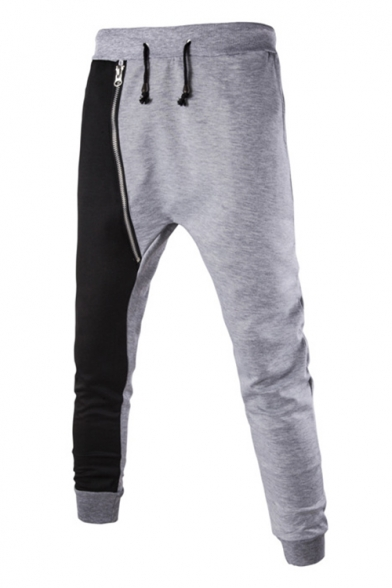 New Trendy Side Zip-Embellished Colorblock Drawstring Waist Fitted Sweatpants for Men