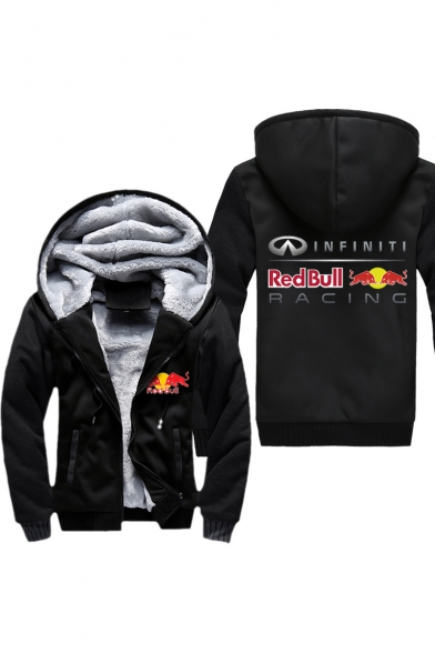 Red Bull Popular Logo Letter Printed Warm Thick Zip Up Hoodie Coat
