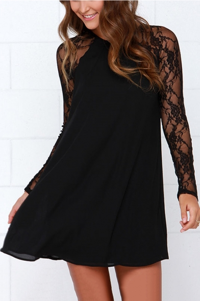 Sexy Chiffon Floral Meshed Lace Raglan Long Sleeves Round Neck Cutout Back Mini Shift Dress