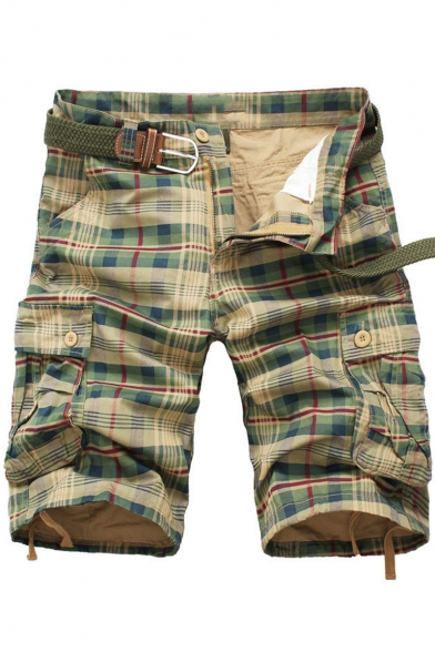 Summer Classic Fashion Plaid Print Men's Casual Cool Military Cargo Shorts