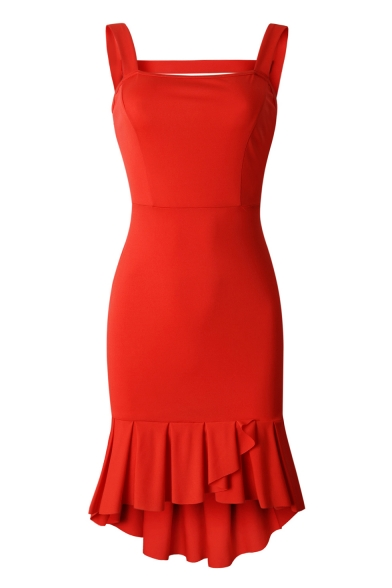 Summer New Stylish Sexy Open Back Square Neck Solid Color Ruffled High Low Hem Mini Bodycon Dress