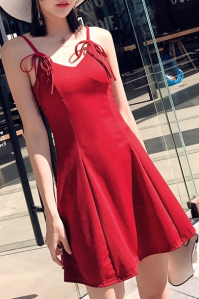 Summer New Trendy Cute Bow-Tied Straps Solid Color Mini A-Line Slip Dress