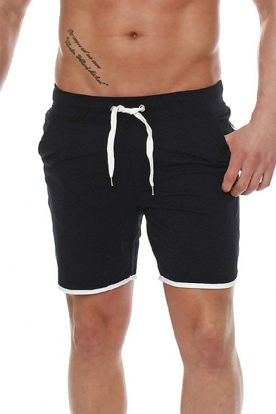 Summer Trendy Contrast Trim Sport Casual Loose Cotton Shorts for Men