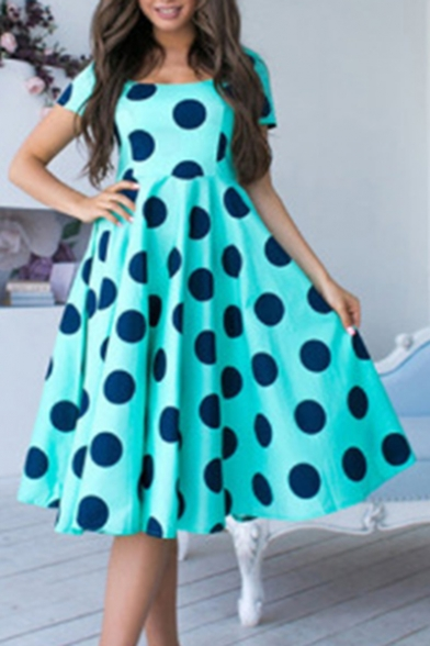 Summer Trendy Polka Dot Printed Square Neck Short Sleeve Midi A-Line Dress For Women