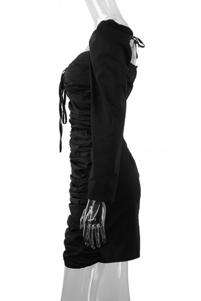 Womens Fashion Square Neck Long Sleeve Ruched Detail Mini Black Bodycon Dress