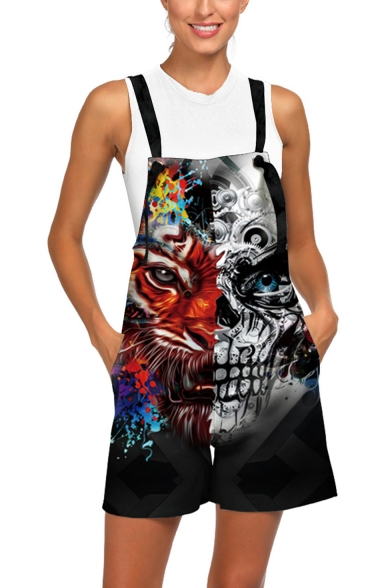 Cool 3D Wolf Skull Printed Womens Casual Loose Overalls Rompers