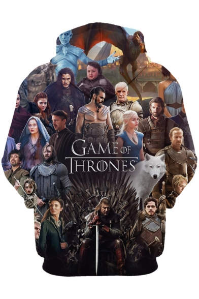 Game of Thrones 3D Figure Pattern Pullover Casual Sport Drawstring Hoodie