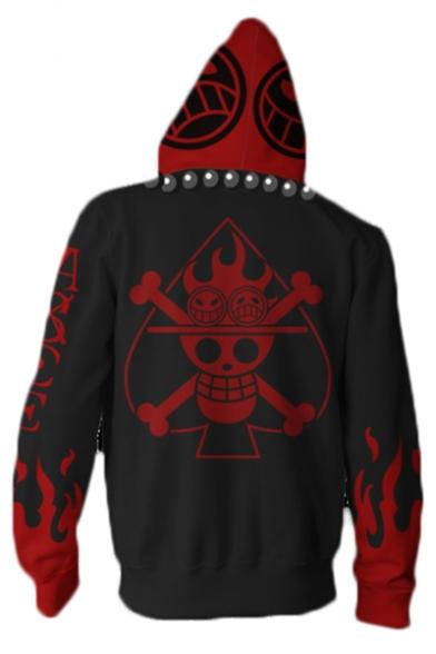 Hot Anime White Beard Legion Flag Happy Face Skull Cosplay Costume 3D Printed Zip Up Red Hoodie