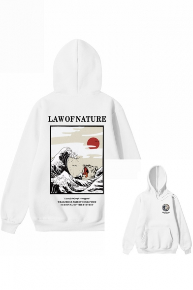LAW OF NATURE Letter Wave Printed Long Sleeve Loose Casual Cotton Hoodie