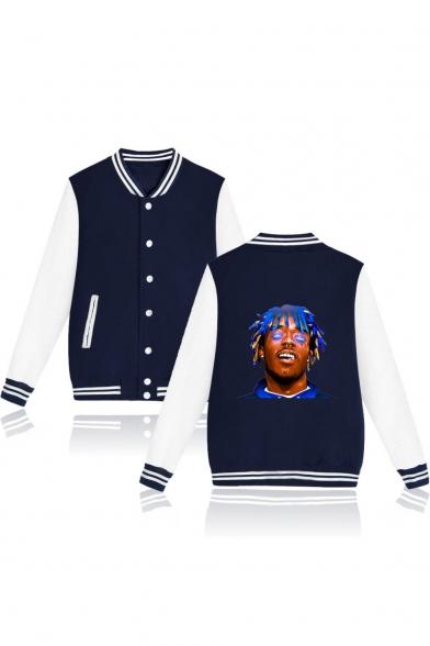 Figure Printed Stand-Collar Long Sleeve Button Down Baseball Jacket