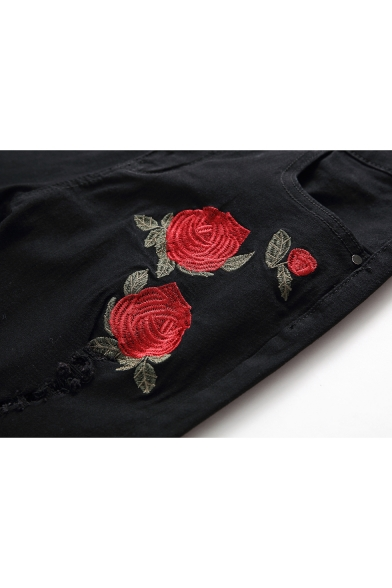 cc3f62fdc06 ... Men's Fashion Rose Floral Embroidery Cut Up Slim Fit Ripped Jeans with  Holes ...
