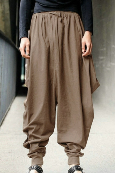 Men's Hip Hop Style Drawstring Waist Gathered Cuff Loose Baggy Cotton Bloomers Harem Pants
