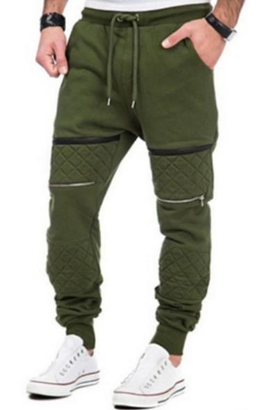 Men's Hip Hop Style Patchwork Knee Zip Embellished Drawstring Waist Sport Cotton Pants Sweatpants