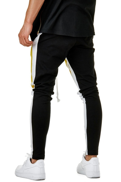 Mens Hip Hop Style Drawstring Waist Fashion Colorblocked Sporty Skinny Yellow and Black Pencil Pants