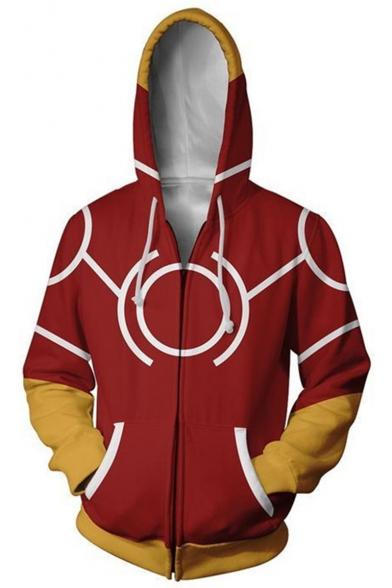 My Hero Academia Cosplay Costume Long Sleeve Full Zip Red Hoodie