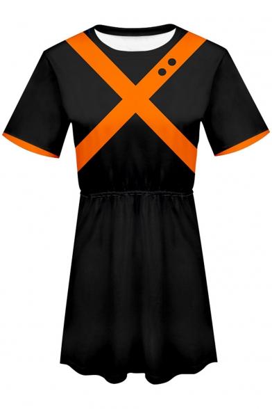 Cosplay Costume Short Sleeve Mini A-Line Black T-Shirt Dress