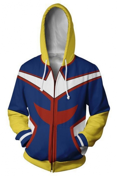 My Hero Academia Fashion 3D Colorblock Comic Cosplay Costume Long Sleeve Zip Up Blue Hoodie