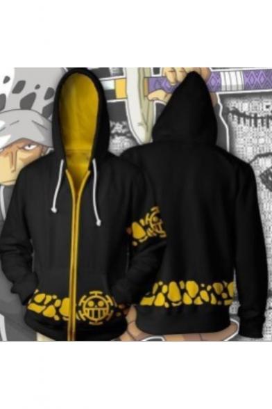One Piece Cool Pattern Cosplay Costume Comic Long Sleeve Zip Up Black Hoodie