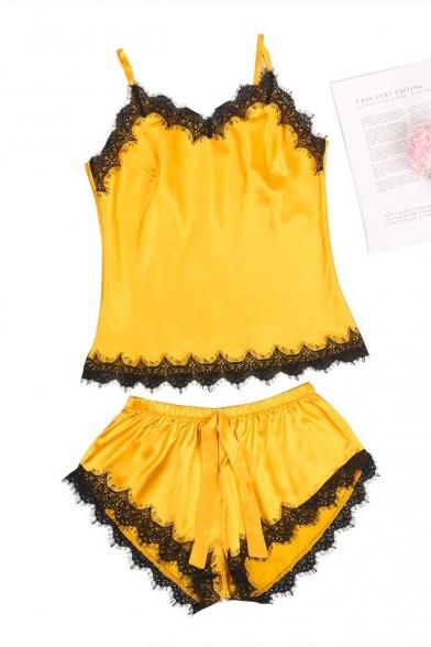 Summer Fashion Sexy Lace-Trimmed Cami Silk Sleepwear Loungewear for Women
