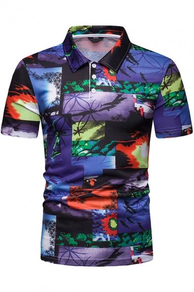 Summer Fashion Sunset Beach Landscape Printed Short Sleeve Slim Navy Polo Shirt for Men