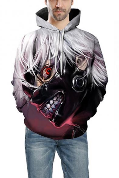 Tokyo Ghoul 3D Comic Figure Print Basic Long Sleeve Sport Casual Unisex Purple Hoodie