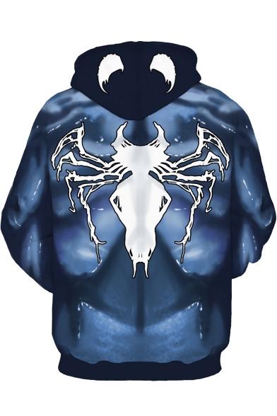 Cool 3D Spider Printed Long Sleeve Casual Loose Blue Drawstring Hoodie