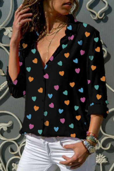 Fashion V-Neck Heart Pattern Long Sleeve Loose Casual Button Down Shirt for Women