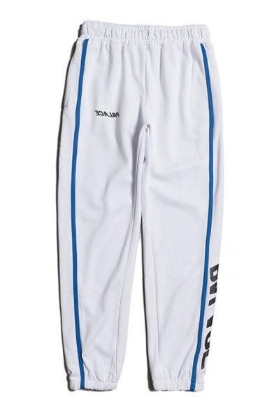 Guys Cool Letter Printed Stripe Side Elastic Waist Sport Track Pants