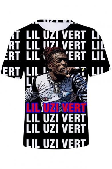 Popular American Rapper Portrait Allover Letter Print Streetwear T-Shirt