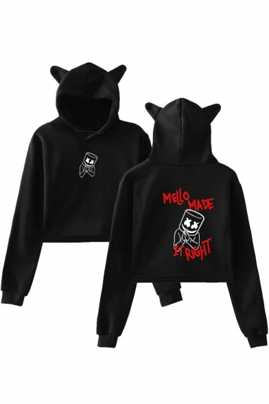 Marshmello Cool Funny Letter MELLO MADE IT RIGHT Printed Cropped Pullover Cat Ear Hoodie