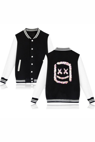Marshmello New Stylish Sequined Smile Face Stand-Collar Button Down Colorblock Baseball Jacket