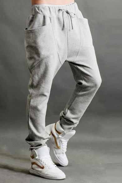 New Trendy Mens Simple Plain Drawstring Waist Large Pocket Casual Harem Sweatpants