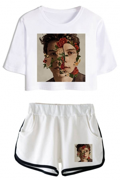 Popular Floral Figure Printed Cropped T-Shirt Casual Shorts Fashion Two-Piece Set