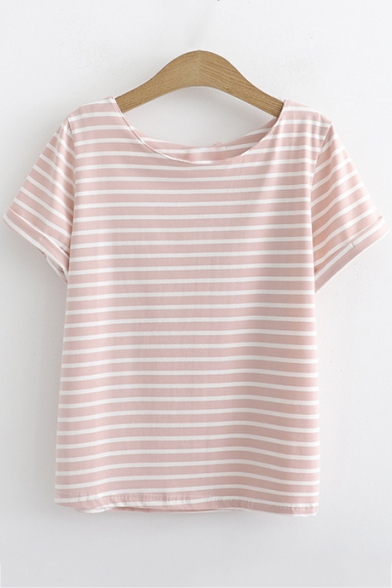 Summer Basic Fashion Striped Printed Round Neck Short Sleeve Loose Relaxed T-Shirt