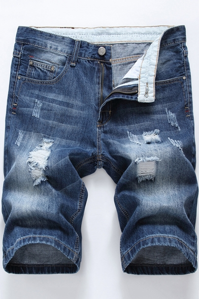 Summer Retro Washed Fashion Ripped Distressed Mens Fitted Casual Jeans Denim Shorts