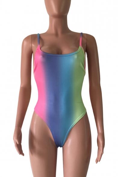 Summer Sexy Crisscross Back Colorful Rainbow Print Slim Fit One-Piece Swimwear