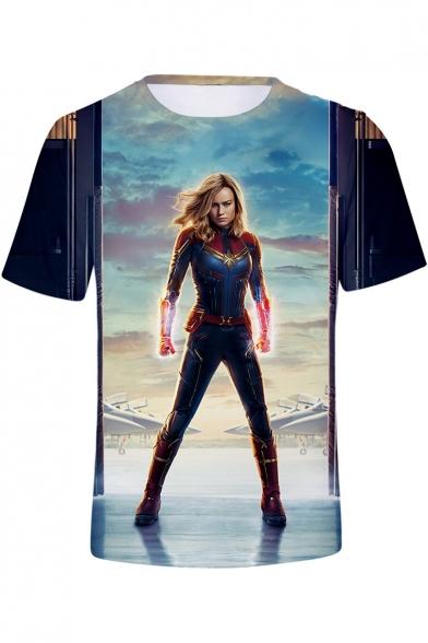 Cool 3D Film Figure Printed Short Sleeve Casual T-Shirt