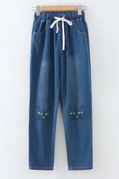 Cute Cat Face Embroidered Drawstring Waist Distressed Casual Preppy Jeans
