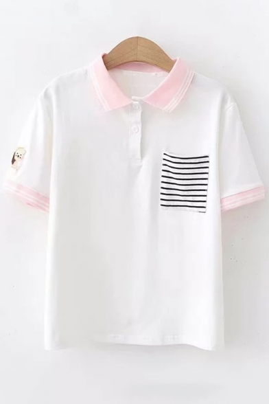 Fashion Striped Pocket Short Sleeve Squirrel Embroidered Loose Fit Polo Shirt