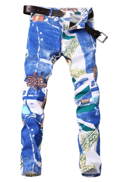 Guys Stylish Street Style Graffiti Stretch Slim Fit Blue Jeans