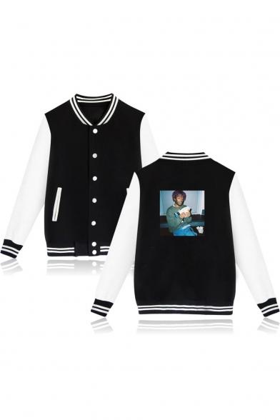 Figure Pattern Long Sleeve Stand Collar Button Down Souvenir Baseball Jacket