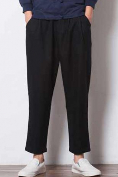 Men's Casual Warm Loose Fit Linen Ankle-Length Carrot-Fit Pants
