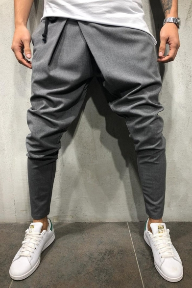 Men's Hot Fashion Cool Irregular Drawstring Waist Plain Cotton Suit Pants Harem Pants