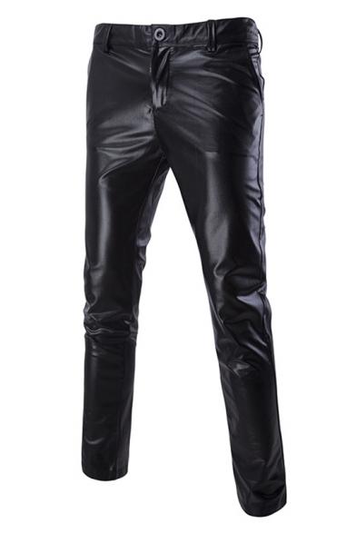 94af0fc16c4f Men's Sexy Night Club Metallic Color Cool Slim Fit PU Pants -  Beautifulhalo.com